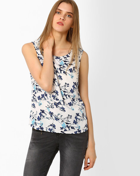 Floral Print Sleeveless Top By FIG ( White )