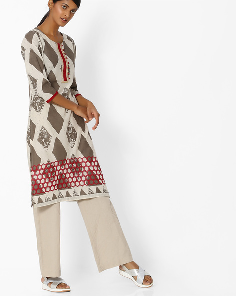 Geometric Print Cotton Kurta By SOCH ( Offwhite )