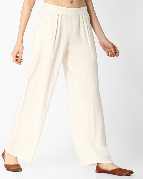 Palazzo Pants With Elasticated Waistband By Jaipur Kurti ( Offwhite )