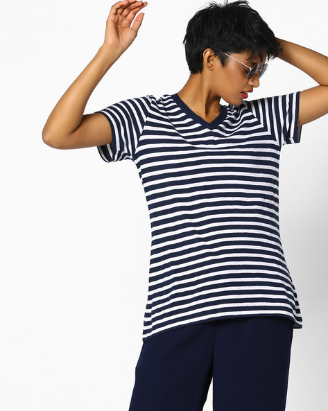 Striped V-neck T-shirt By Project Eve WW Athleisure ( Navy )