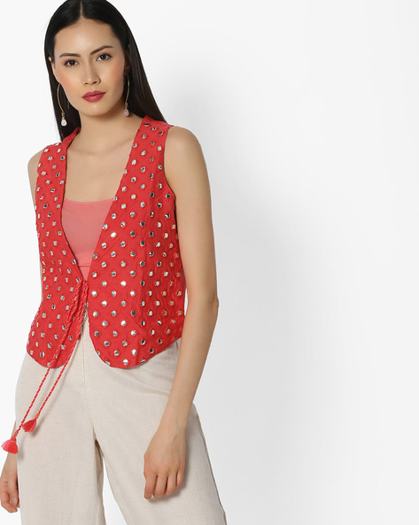 Sleeveless Jacket With Mirror Work By COLOUR ME ( Coral )