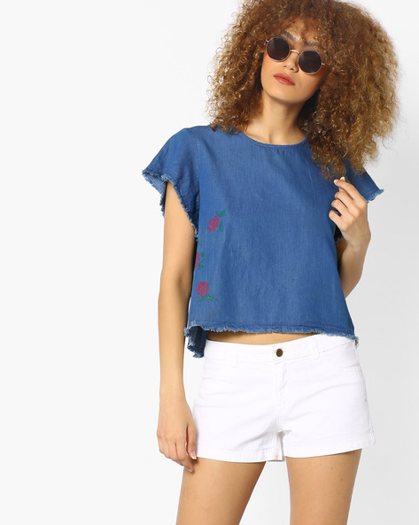 Denim Top With Embroidery By AJIO ( Blue )