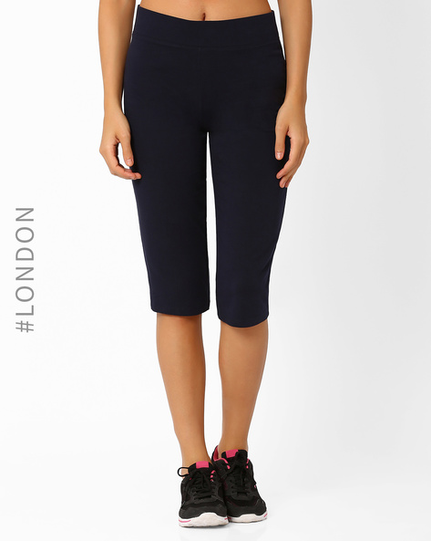 Capris With Elasticated Waistband By Marks & Spencer ( Navyblue )