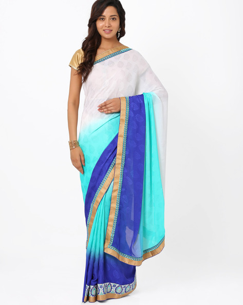 Embroidered Crepe Jacquard Ombre-Dyed  Saree By Majestic Silk ( Seagreen )