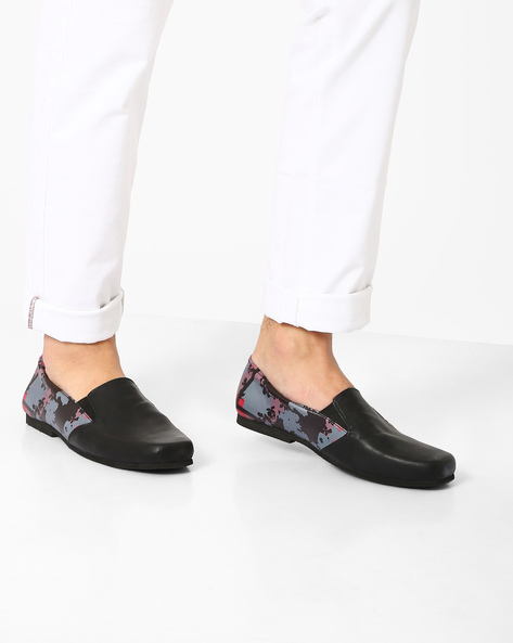 Printed PU Slip-Ons By Funk ( Black )