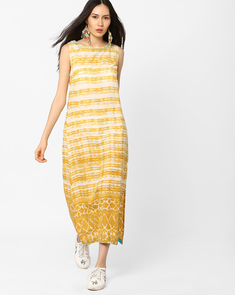 Sleeveless Striped Dress With Slit By AJIO ( Mustard )