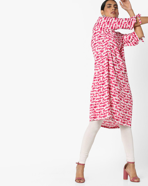 Printed Dress With Tie-Ups By Project Eve IW Fusion ( Pink )