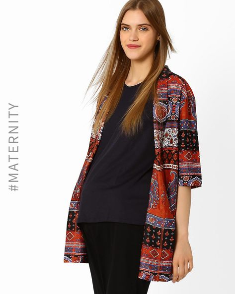 Printed Maternity Shrug By Oxolloxo ( Multi )