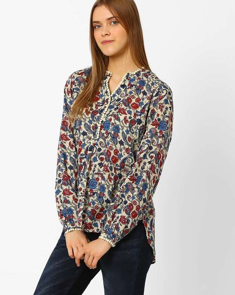 Floral Print Top With High-Low Hem By Pepe Jeans ( Beige )