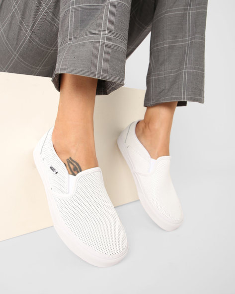 Asher Perforated Slip-On Casual Shoes By Vans ( White )