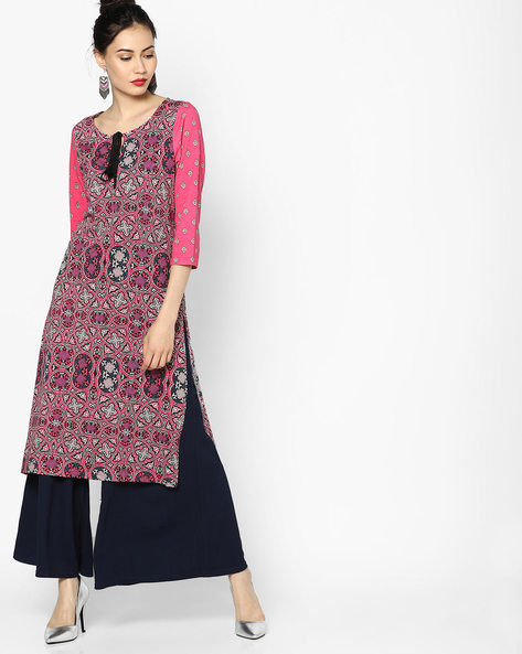 Printed Straight Kurta With Tie-Up By Melange By Lifestyle ( Pink )