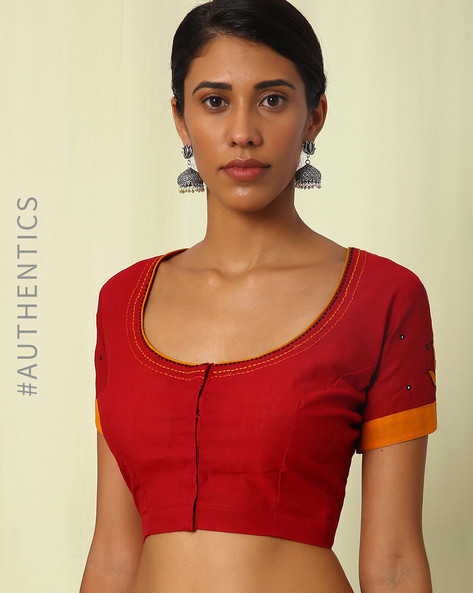 Mangalgiri Embroidered Cotton Blouse By Indie Picks ( Maroon )