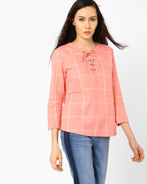 Yarn-Dyed Lace-Up Checked Top By AJIO ( Pink )