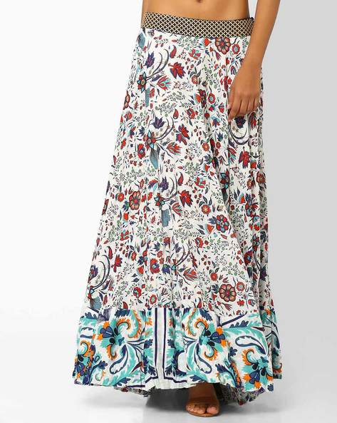 Floral Print Maxi Skirt By AJIO ( White ) - 460025816005