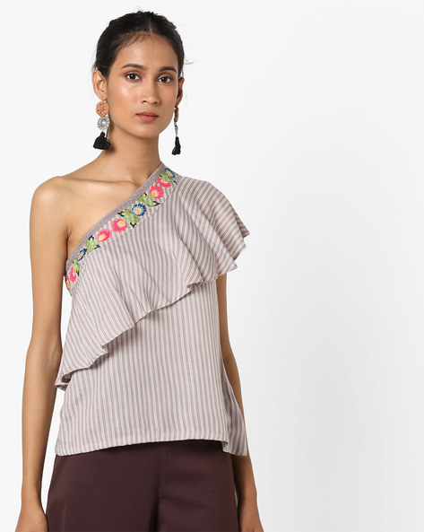 One Shoulder Top With Ruffle Panel By AJIO ( Grey )