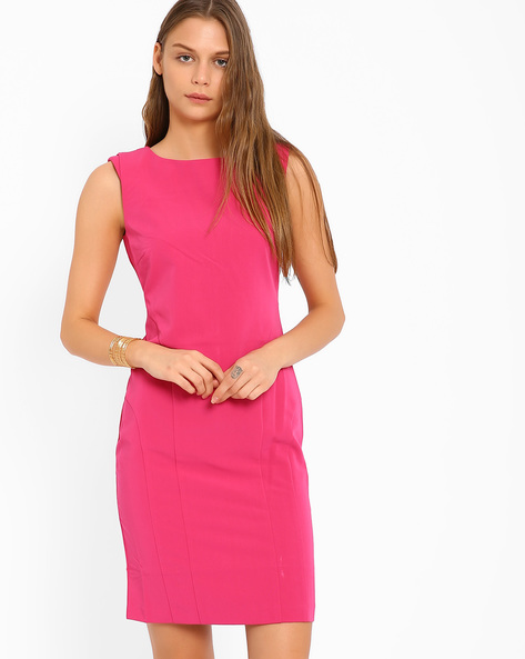 Tailored Dress With Back Slit By AJIO ( Fuchsia )