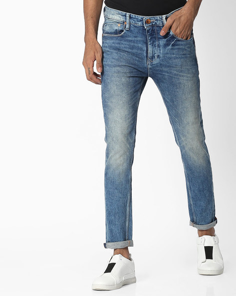 Slim Fit Jeans With Whiskers By UNITED COLORS OF BENETTON ( Darkblue )