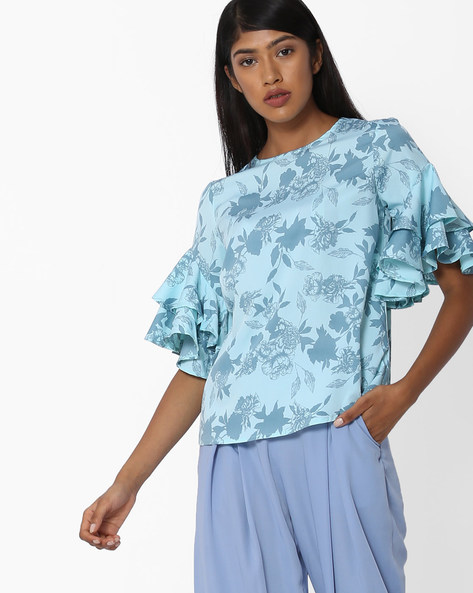 Floral Print Ruffled Top By Oxolloxo ( Ivory )