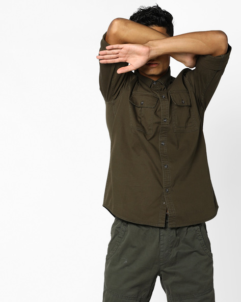 Shirt With Flap Pockets By AJIO ( Olive )
