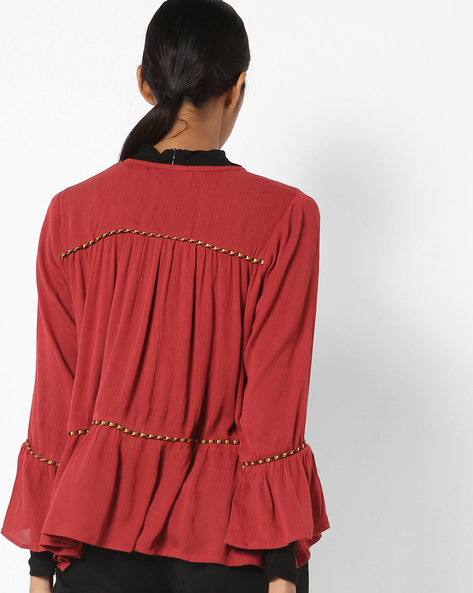Open-Front Tunic With Bell Sleeves By COLOUR ME ( Red )