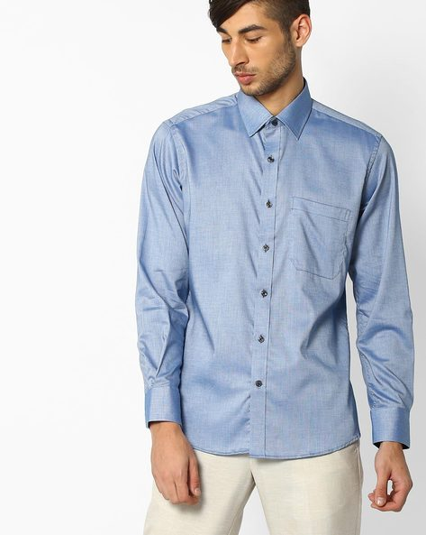 Tailored Fit Cotton Formal Shirt By PUREZA ( Blue )