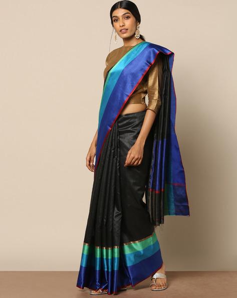 South Silk Saree With Zari Border By Pretty Woman ( Black )