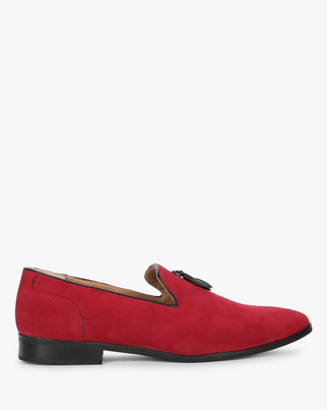 Slip-On Casual Shoes With Stacked Heels By Piaffe ( Burgundy )