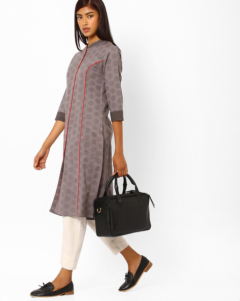 Printed Cotton Straight Kurta By AJIO ( Grey )