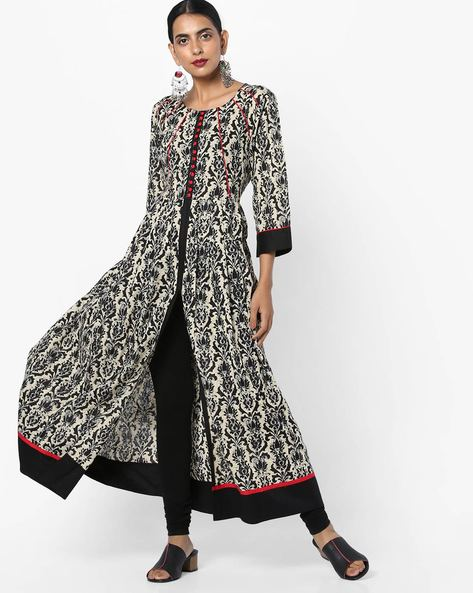 Printed A-line Dress With Front Slit By Shree ( Black )