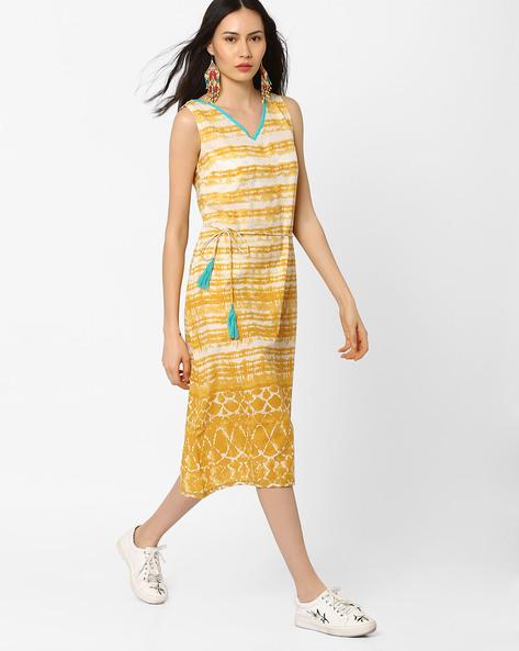 Striped Sleeveless Dress By AJIO ( Mustard )