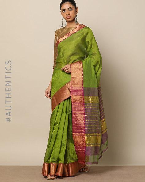 Handloom Mangalgiri Pure Silk Cotton Saree By Indie Picks ( Green ) - 460175708001