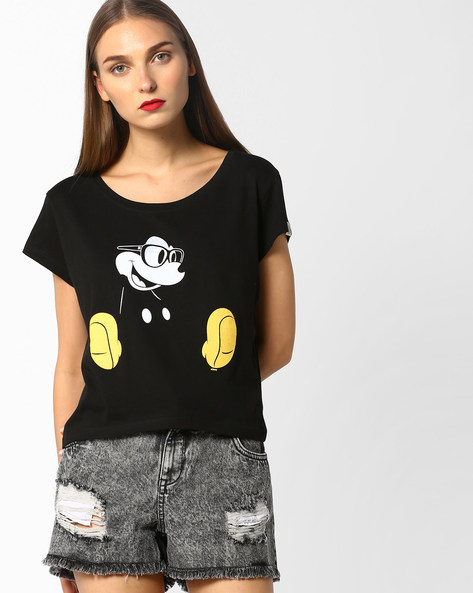 Mickey Mouse Print T-shirt By Free Authority ( Black )