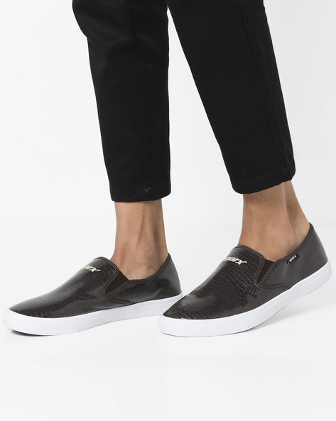 Textured Slip-On Casual Shoes By SPARX ( Brown )