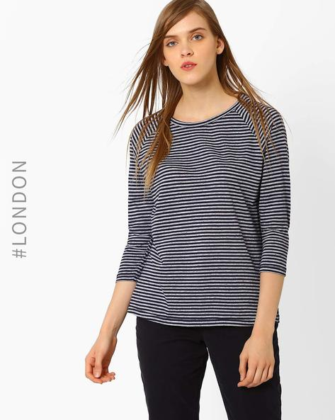 Striped T-shirt With Raglan Sleeves By Marks & Spencer ( Navyblue )