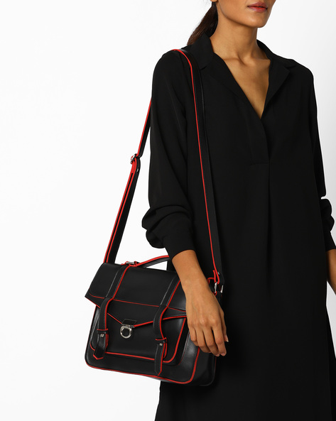 Satchel With Flap Closure By Tessa Moda ( Black )