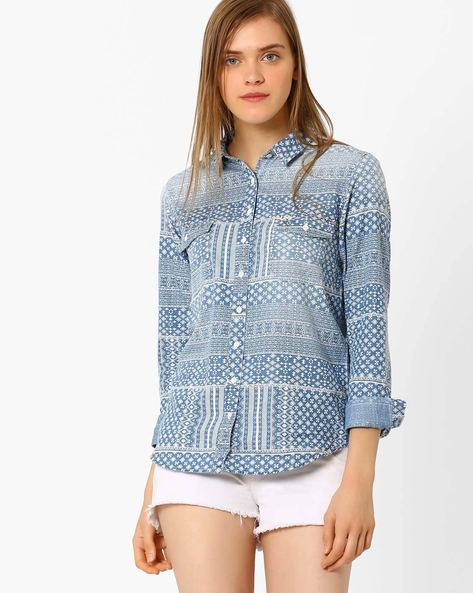 Printed Cotton Shirt By Lee ( Indigo )
