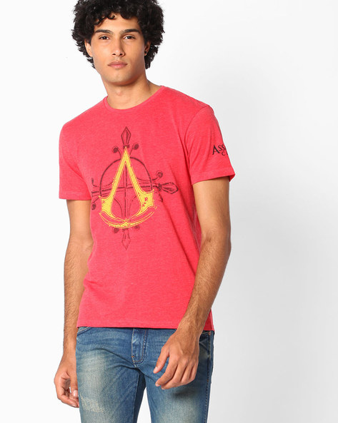 Assassin's Creed Print Crew-Neck T-shirt By Free Authority ( Red )