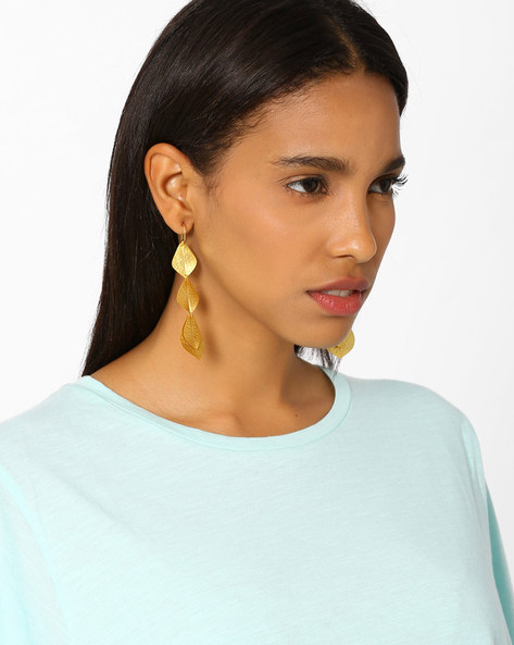 Matte Gold-Plated Textured Dangler Earrings By AJIO ( Gold )