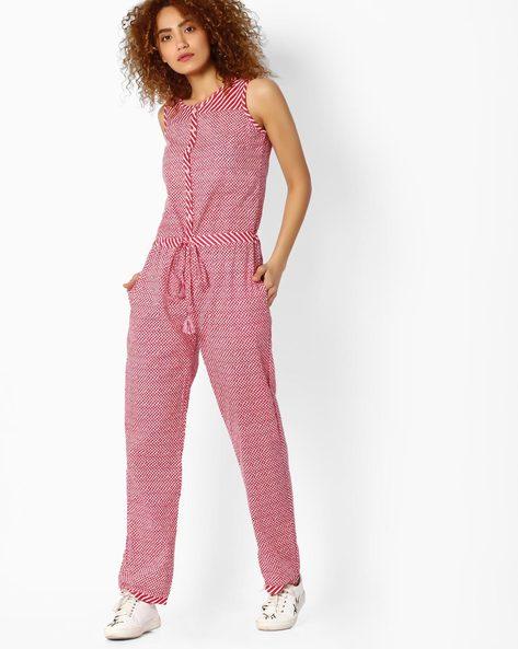 Printed Sleeveless Jumpsuit By Jiyaa ( Pink )