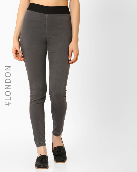 Ankle-Length Jeggings With Elasticated Waistband By Marks & Spencer ( Grey )