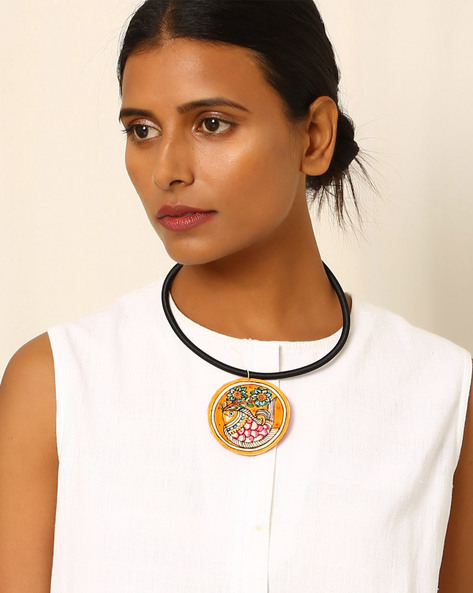 Handpainted Madhubani Pendant With Cord By Moya ( Multi )