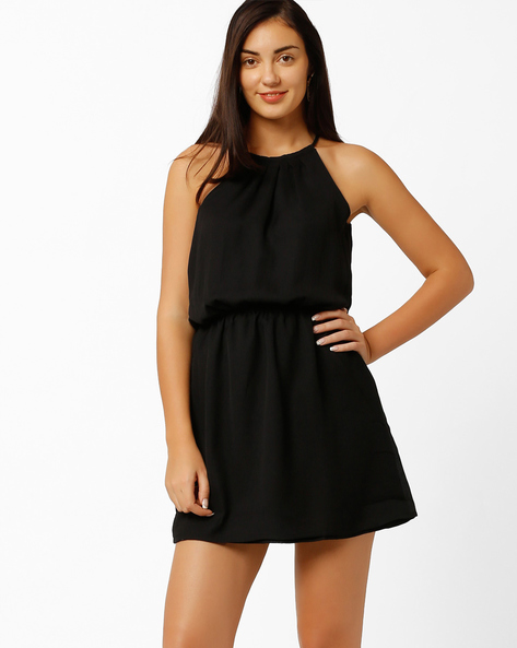 High-Neck Dress By PrettySecrets ( Black )