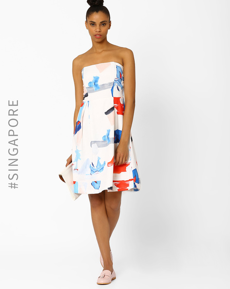 Printed Tube Dress By MDS ( Multi )
