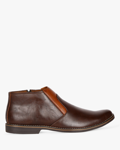 Mid-Top Slip-On Formal Shoes By ESCARO ( Brown )