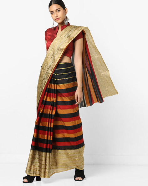 Striped Saree With Contrast Border By Florence ( Red )