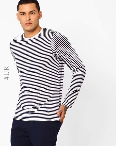 Sandown Striped Yarn-Dyed T-shirt By Native Youth ( Blue )