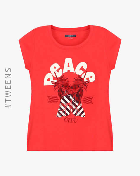 Printed Crew-Neck T-shirt By AJIO ( Red )