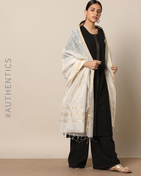 Handloom Chanderi Dupatta With Zari Border By Indie Picks ( White ) - 460176760001