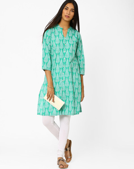 Printed Kurta With Front Slit By Biba ( Teal )