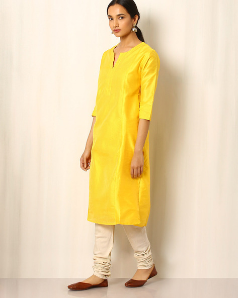 Chanderi Striped Straight Kurta By Indie Picks ( Yellow )